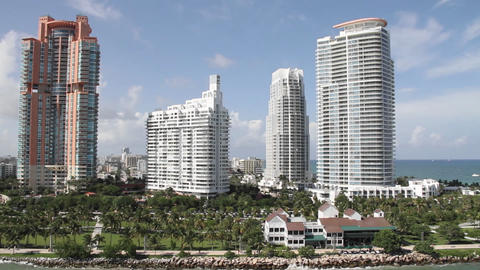 Wide shot of downtown Miami Florida and high rise Stock Video Footage