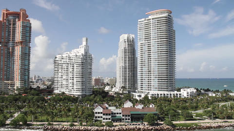 Wide shot of downtown Miami Florida and high rise  Footage