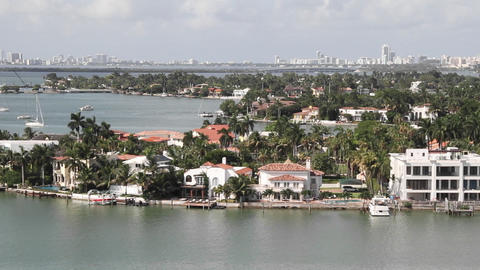 Wide shot Miami Florida roads and homes POV from a Stock Video Footage