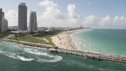 Wide shot Miami Florida extremely crowded baches f Footage