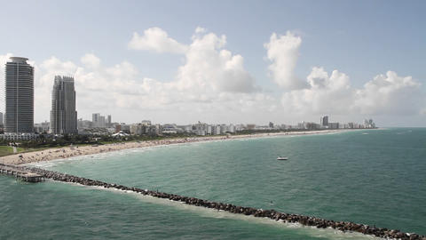 Wide shot Miami Florida skyline from the POV from  Footage