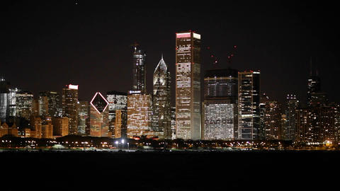 The glittering Chicago skyline at night Stock Video Footage