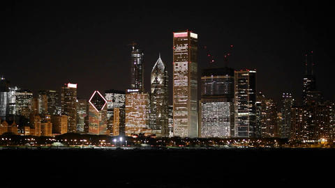 The glittering Chicago skyline at night Footage