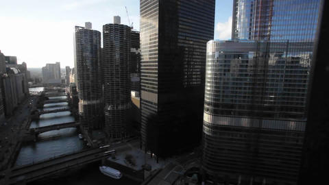 A view of Chicago from a tall building Stock Video Footage