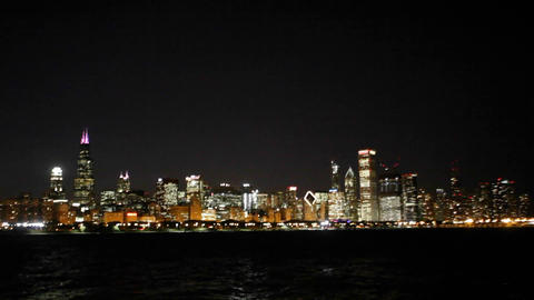 Chicago skyline at night Stock Video Footage