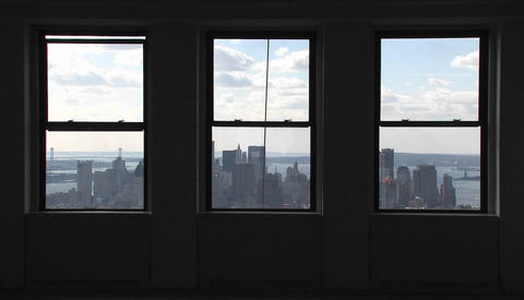 A view outside of windows of the Empire State Building in New York City, New York Footage