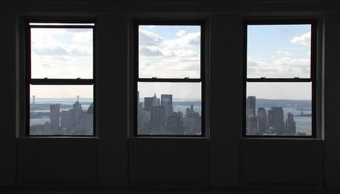 A view outside of windows of the Empire State Building in... Stock Video Footage