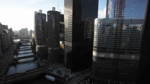 Sunshine on tall buildings in Chicago, Illinois Stock Video Footage