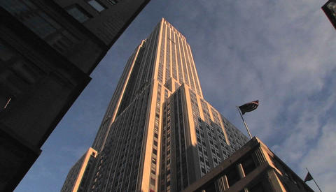 The Empire State Building seen from the street Footage