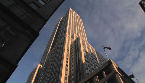 The Empire State Building seen from the street Stock Video Footage