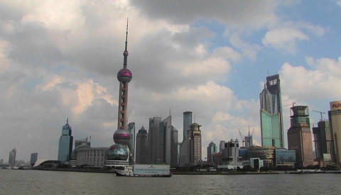 Time lapse of boats on the Yangtze River passing the Pudong district in Shanghai Footage