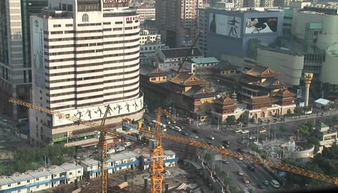 Time Lapse Video Of A Construction Cranes And Busy City Intersection In Tokyo Japan stock footage