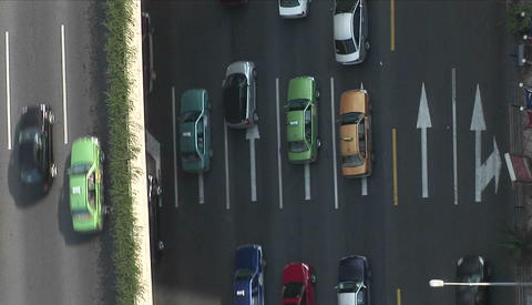 Overhead view of divided traffic from a Ducth of cockeyed angle Footage