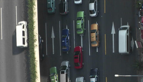 Overhead view of divided traffic from a Ducth of cockeyed... Stock Video Footage