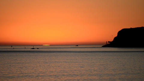 Sunset off of Point Loma in San Diego, California Stock Video Footage