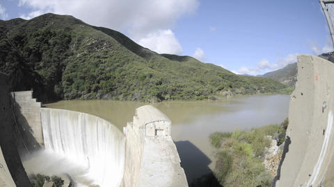 Wide time lapse dolly shot from above Matilija Cre Stock Video Footage