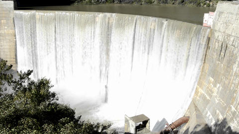 Tilt down shot of Matilija Creek spilling over the Stock Video Footage