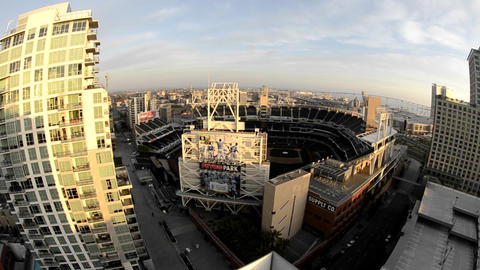 Panning view of downtown San Diego above Petco Sta Footage