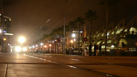 San Diego's Orange Line Trolley leaving the Nation Stock Video Footage