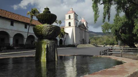 Time lapse dolly shot of the Mission Santa Barbara Footage