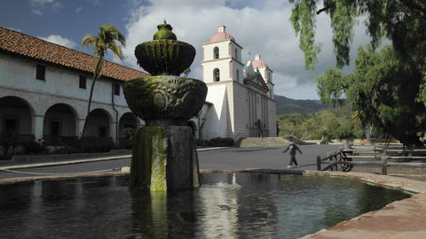 Time lapse dolly shot of the Mission Santa Barbara Stock Video Footage