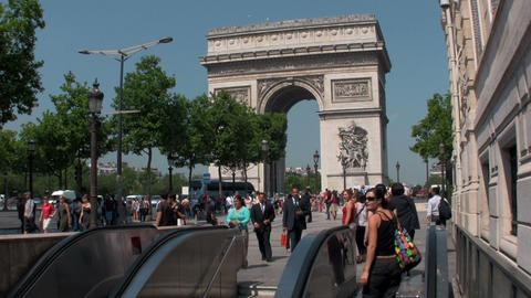 The Arc De Triumphe in paris with pedestrians Footage