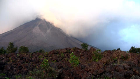 An active volcano bilious smoke and ash Stock Video Footage