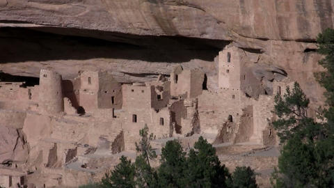 Zoom out from ancient American Indian dwellings at Stock Video Footage