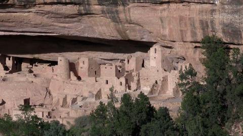 Zoom out from ancient American Indian dwellings at Footage