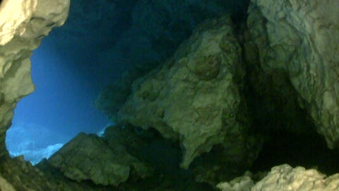 Underwater POV of cave diving Stock Video Footage