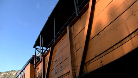 Tourists pass by on an excursion train Stock Video Footage