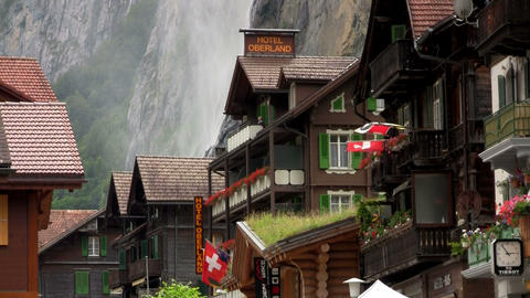 Lauterbrunnen, Switzerland with waterfall behind t Stock Video Footage