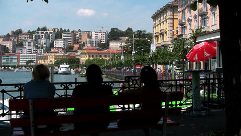 A lakeside view of Lugano, Italy Stock Video Footage