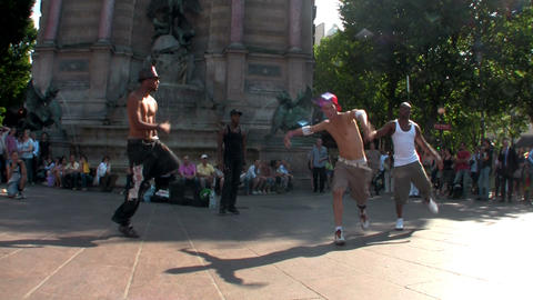 An editorial use only shot of Paris street dancers Stock Video Footage