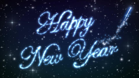 Happy New Year Beautiful Text Appearance Animation in the Night Winter Sky. Text Animation