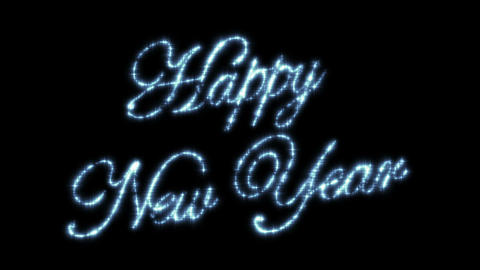 Happy New Year Beautiful Text Animation Isolated on Black Background. Stars in t Animation