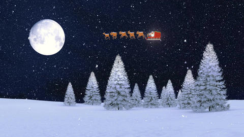 Snowy firs and Santa on his sleigh at christmas night Animation