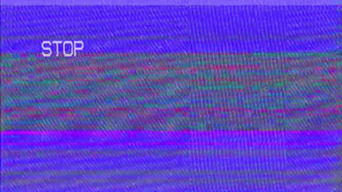 Abstract VHS Digital Animation Old TV Screen Background and Analog Noise Effect Live Action