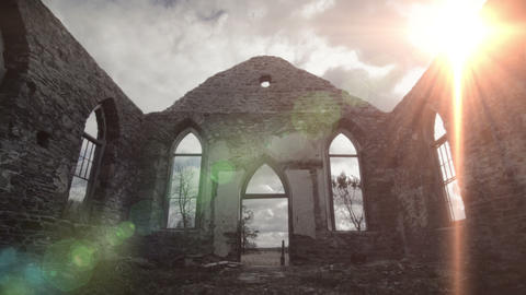 Amazing God Rays of Light Into an Abandoned Old Church Ruins Live Action