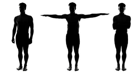 Full Length Spinning Naked Man Silhouettes Live Action