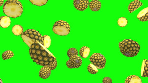 Pineapple half green screen loop animation Videos animados