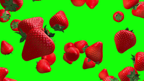 Strawberry fruit green screen loop animation Animation