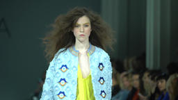 Girl showing clothes during the fashion show Footage