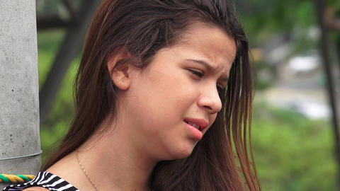 Hurt And Tearful Female Teen Footage