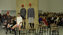 Models on the fashion show on the catwalk. Slow motion Image