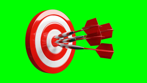 All red dart arrows hit the center of target on green chroma key Animation