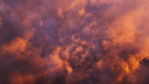Fly Through Golden Sunset Clouds Animation