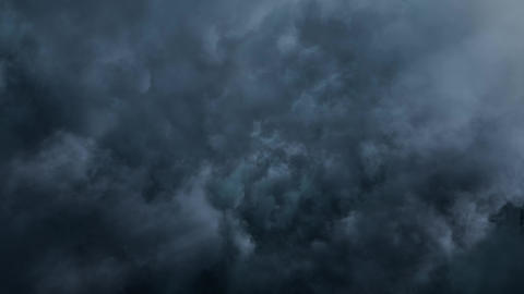 Fly Through Night Blue Clouds Animation