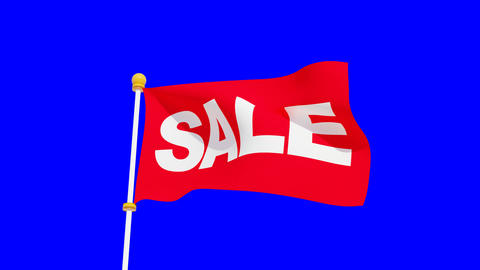 Waving red sale flag on blue chroma key background 動畫