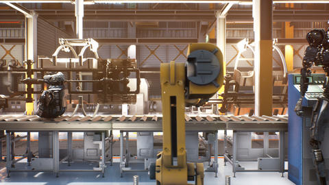 Automatic Assembly line. Robots work in a factory for the production and Assembly of robots. 動畫